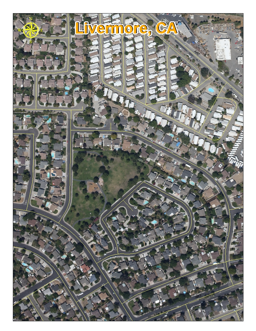 Aerial GIS Technology - ArcGIS Image With Street Centerline